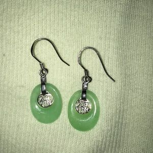 Jewelry - Green Jade 925 Sterling Silver Dangle Earrings
